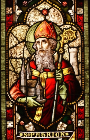 St. Patrick as depicted on a stained-glass window in the Cathedral of Christ the Light, Oakland, California. Image Credit:  Sicarr  via  Wikimedia Commons   cc