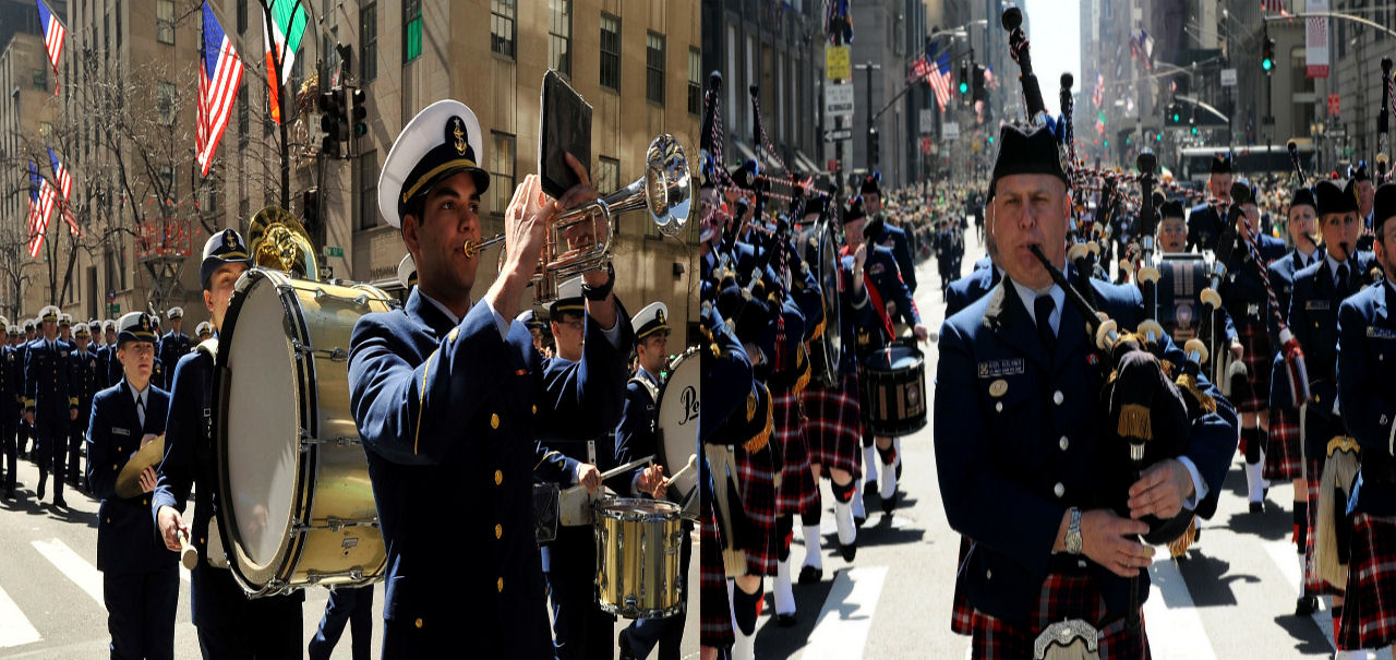 The United States Coast Guard Band and Pipe Band Proceeding up Fifth Avenue in New York City during a St. Patrick's Day parade. Image Credit: Public Domain ( Wikimedia Commons  and  Pixabay )