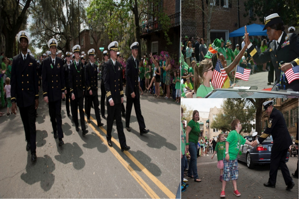 Sailors of the US Navy marching through the streets of Savannah during a St. Patrick's Day parade. Image Credit: Public Domain ( Left ,  Upper Right ,  Lower Right )