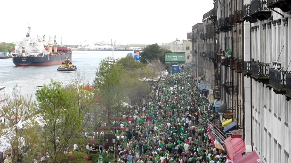 Throngs of people on River Street in Savannah for St. Patrick's Day.