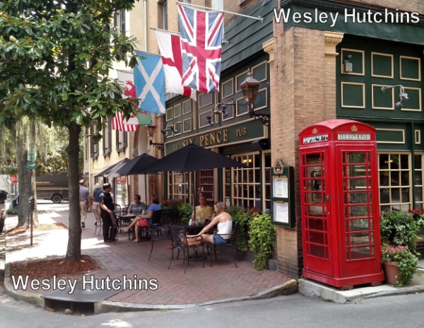 The Union Jack of the United Kingdom at the Six Pence Pub in my hometown of Savannah, GA, with the Home Nation flags of England, Scotland, and Wales and the flag of the United States. Image Credit: Wesley Hutchins