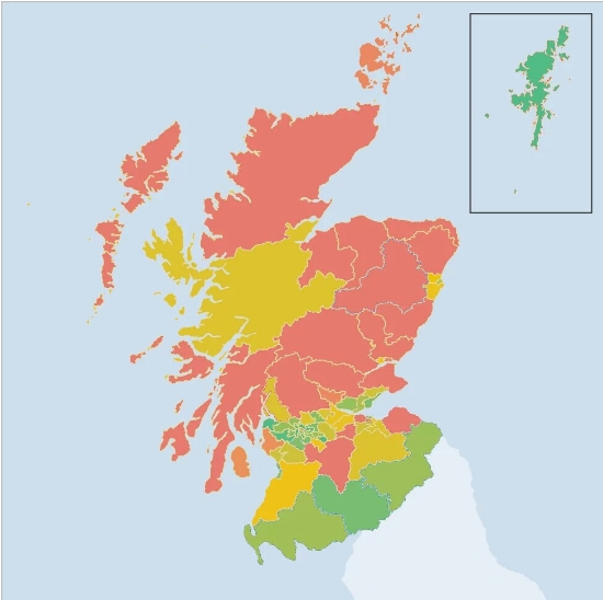 The changes in support for the SNP from 2011 to this year's election. Greener areas indicateincreases in support; redder areas indicate decreases in support. The biggest decreases came from the northeast and Tayside. Image Credit: BBC; Graphics modificationand overlay by  Stephen McGroarty