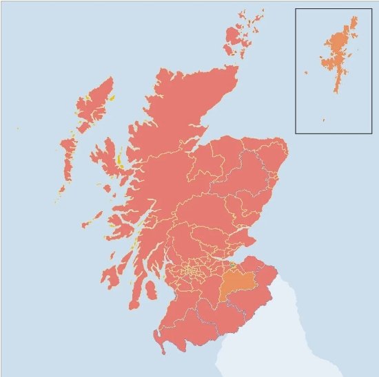 The changes in support for Labour from 2011 to this year's election. Greener areas indicateincreases in support; redder areas indicate decreases in support. Only Labour's win in Edinburgh Southern produced a solid increase. Image Credit: BBC; Graphics modificationand overlay by  Stephen McGroarty