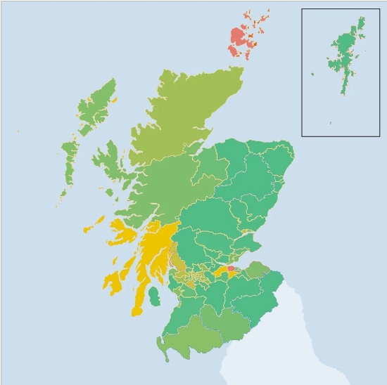 The changes in support for the Conservatives from 2011 to this year's election. Greener areas indicateincreases in support; redder areas indicate decreases in support. Almost all Constituencies had an increase in Tory Support, especially in the Northeast and Tayside against the SNP. Image Credit: BBC; Graphics modificationand overlay by  Stephen McGroarty