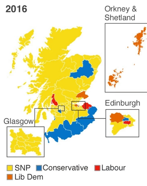 2016 Holyrood election Map, with detail of Glasgow and Edinburgh. Image Source: BBC