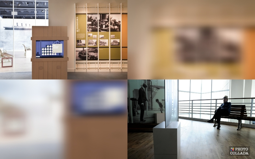 Gallery featuring Father Browne's collection of photos and deck benches with views of the harbor and atrium, as if on  Titanic  herself. Image Credit: Titanic Belfast ( Top Left  and  Bottom Right ) via  Flickr   CC