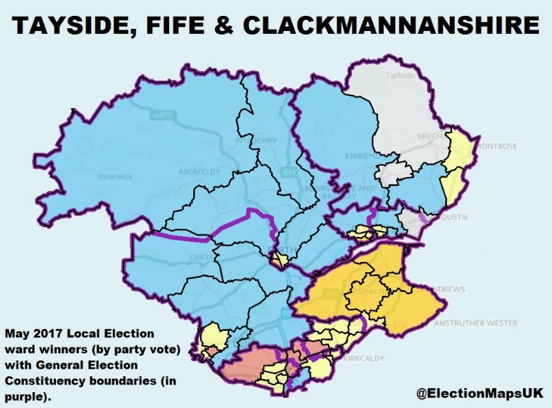 Perth and North Perthshire, Ochil and South Perthshire, Dunfermline and West Fife, Kirkcaldy and Cowdenbeath, Glenrothes, North East Fife, Dundee West, Dundee East, and Angus. Image Credit: @ElectionMapsUK on Twitter
