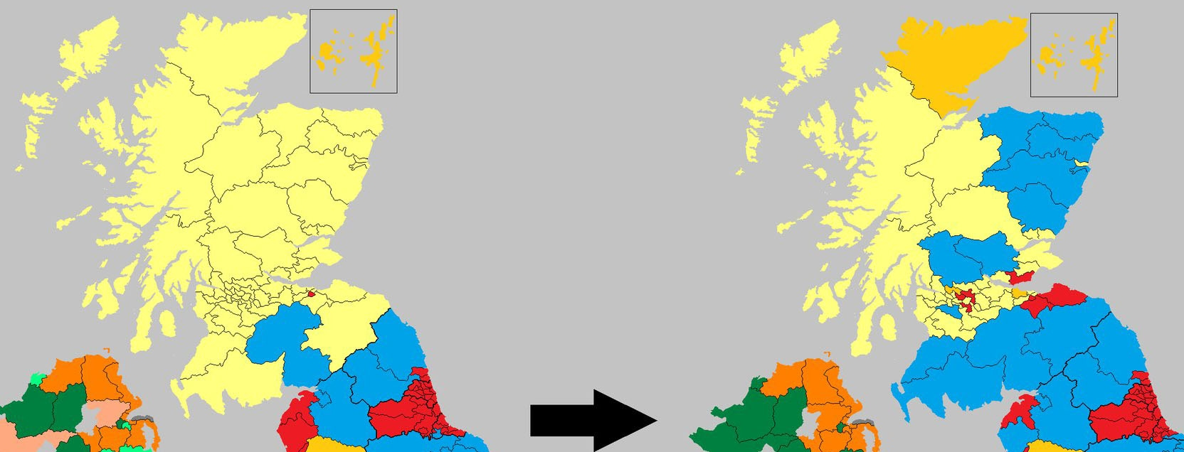 The change in Scotland's political Map from 2015 to 2017. Image Credit: @ElectionMapsUK; cropped by Wesley Hutchins
