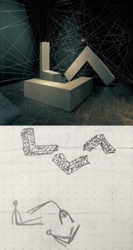 Photo: Robert Morris's Untitled (3 Ls), Whitney Museum collection, and choreographic diagram
