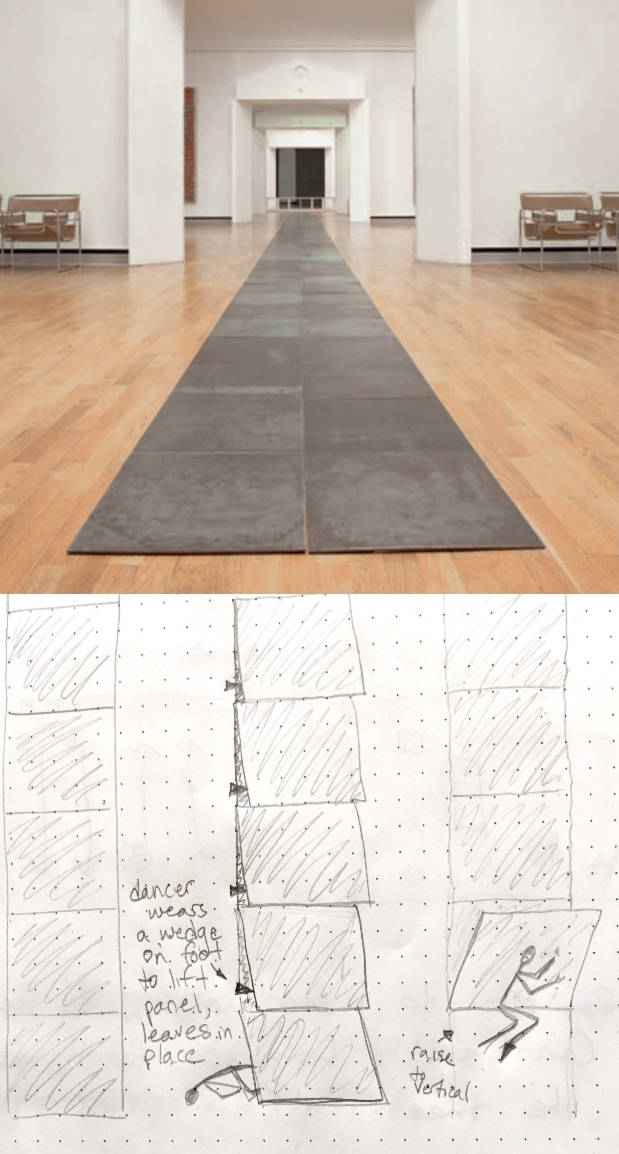 Photo of work by Carl Andre, copyright Phaidon, and choreographic diagram.
