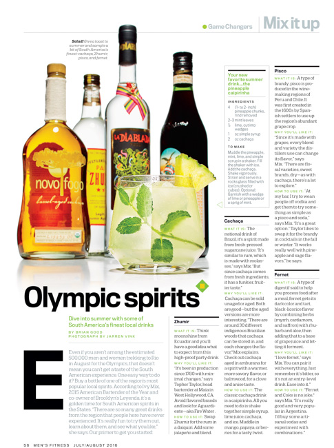 jarren vink men's fitness cocktail drink south america liqour fernet zhumir cachaca pisco