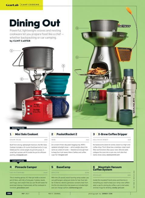 jarren vink men's journal magazine still life camping stove