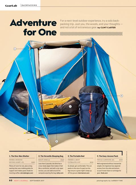 jarren vink men's journal camping gear tent thule backpack kelty sleeping bag