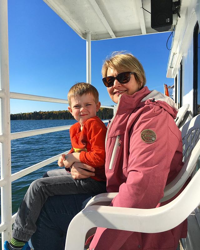 """Oliver and his grandmother Meaghan came up from Brandon, Mb for an afternoon cruise on a perfect clear blue day today. Oliver correctly identified a buoy (he saw it on an episode of Paw Patrol) and when asked what his favourite part of the cruise was, he said """"the waves at the back!"""""""