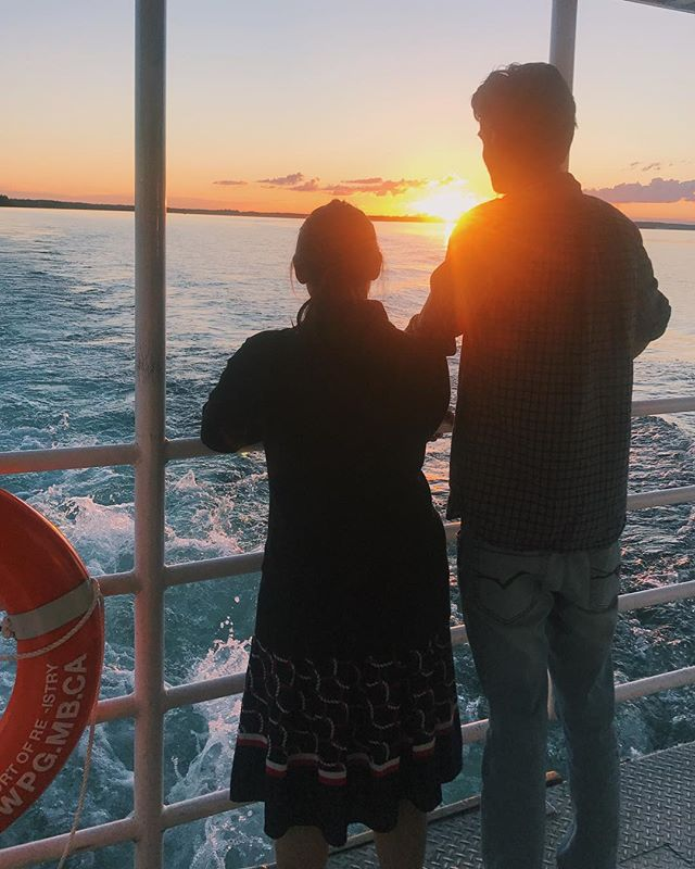Jas and Sukh enjoying the view on the sunset cruise on The Martese last night! 🌤 #clearlake #ridingmountainnationalpark