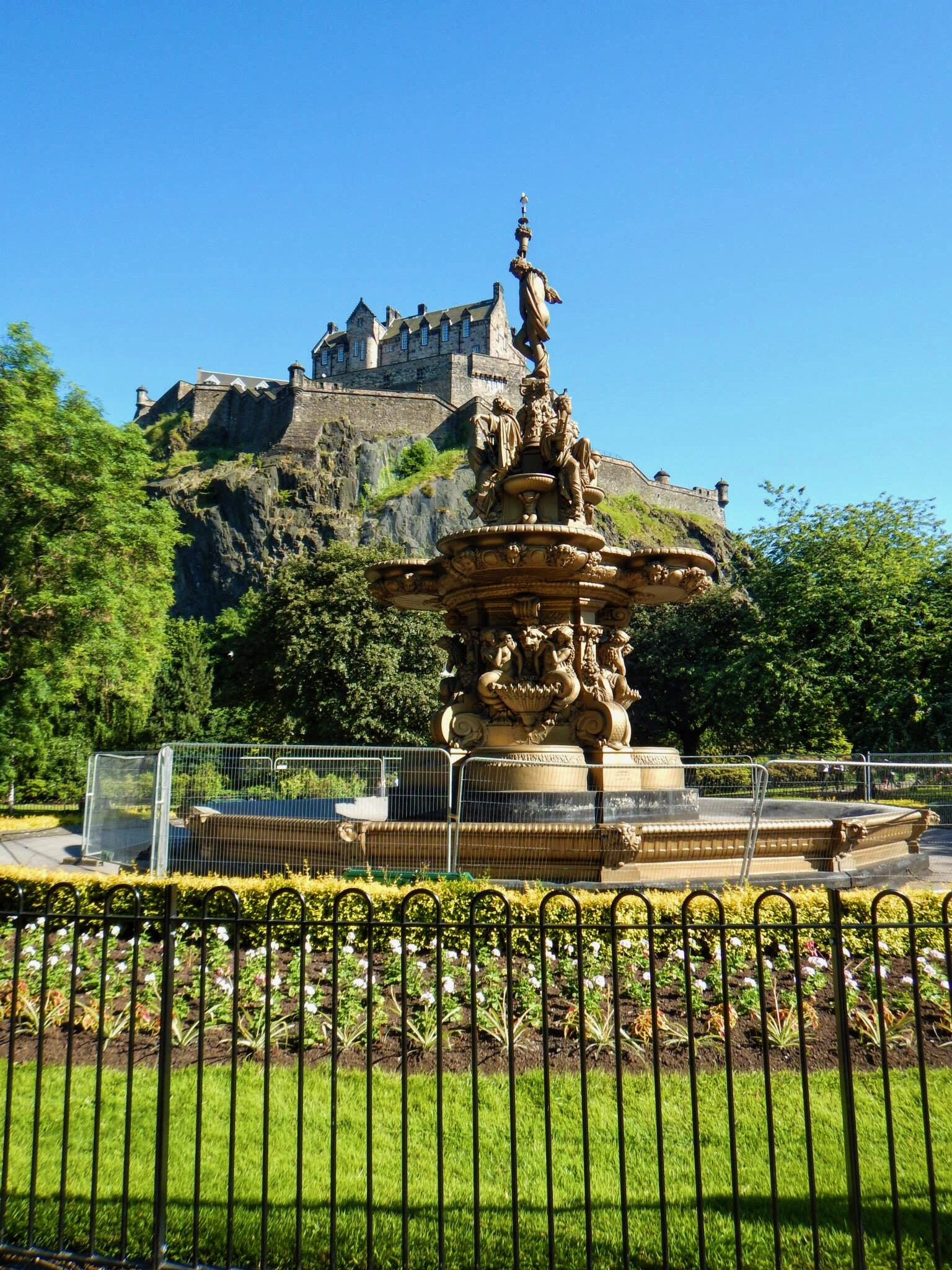 The Ross Fountain (with Edinburgh Castle in the background) was produced by the foundry of Antoine Durenne for the Great London Exposition in 1862 but has called Princes Street Gardens home since 1872. While we were there, more repairs were being done to maintain the integrity of the fountain.