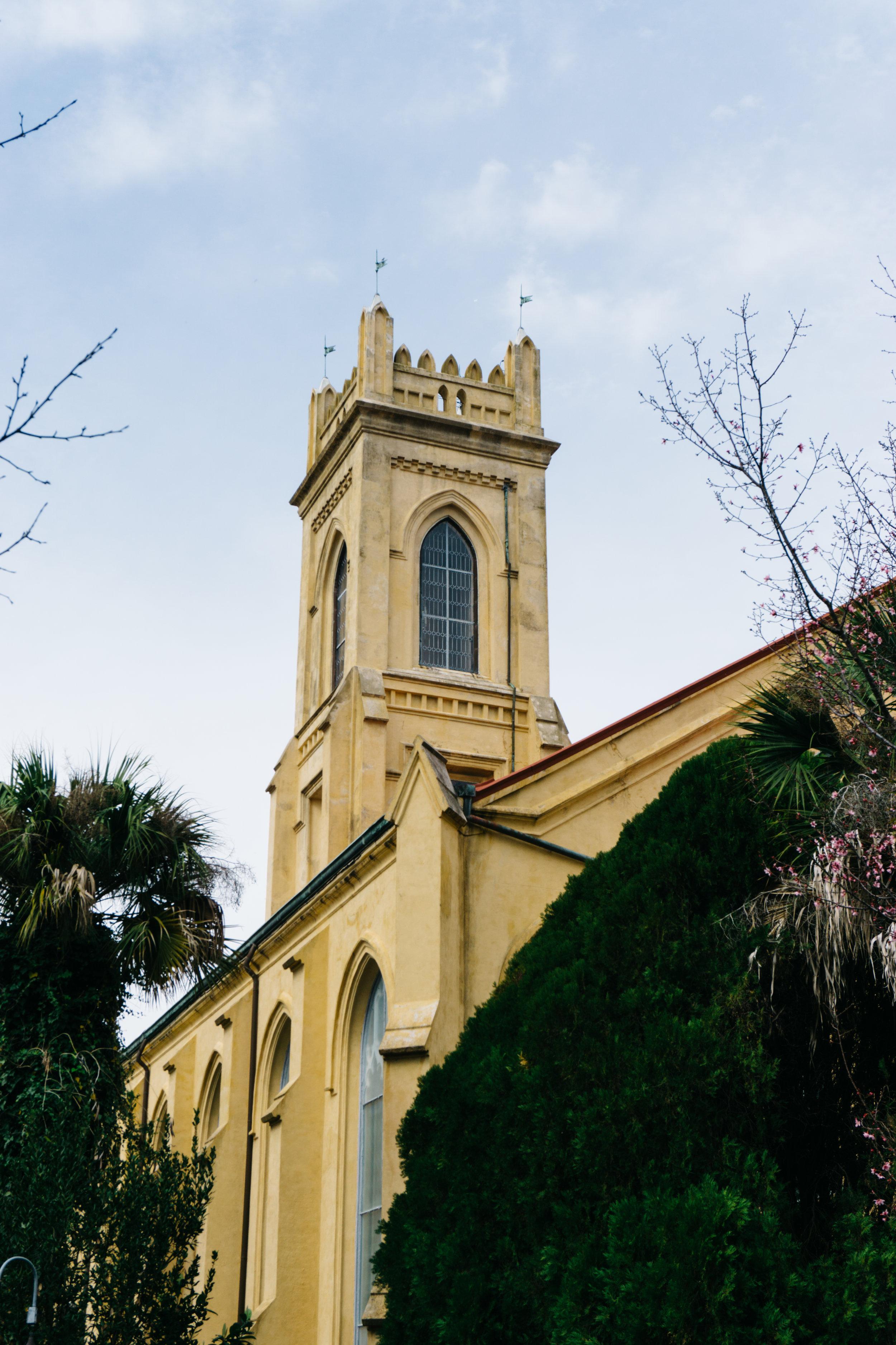 Unitarian Church of Charleston rear tower view