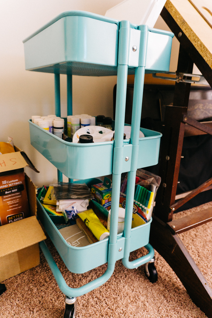 IKEA Raskog cart with art storage
