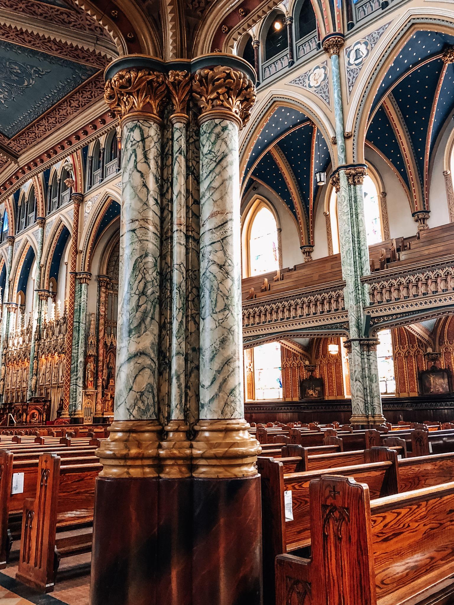 Interior of the Notre-Dame Basilica in Ottawa, ON