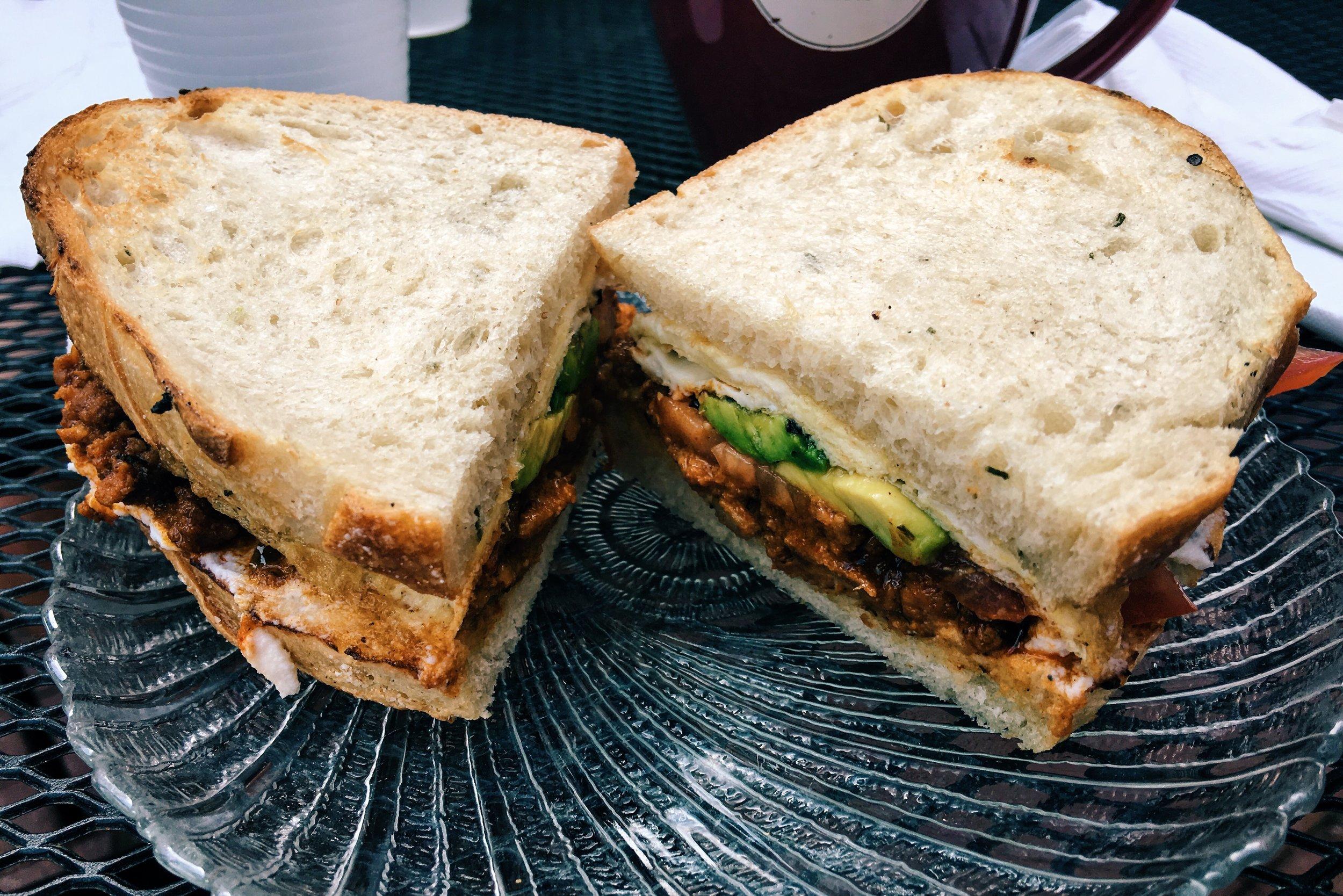 Breakfast sandwich at Bodega Ultima in Augusta GA