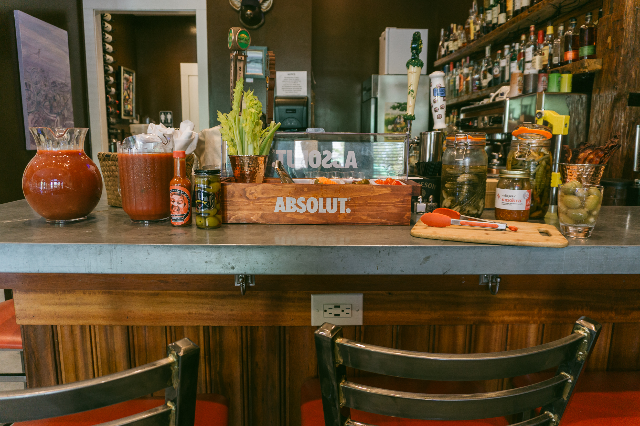 Bloody mary bar at Hammond's Ferry Larder in North Augusta