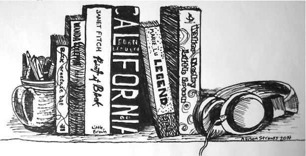 Illustration for  Ex Libris  L.A. booklist by Romy Griepp, appearing in  Escape Clause , a zine Allison co-published in 2014. (See Logos, Labels, Type portfolio)