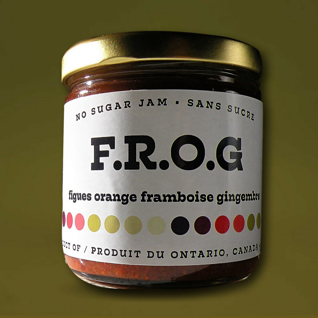 F.R.O.G. (Fig, Raspberry, Orange, Ginger) - Figs, raspberries, oranges and ginger. Excellent with cheese and salty meats!229 mLFIGS, RASPBERRIES, ORANGE JUICE CONCENTRATE, ORANGES, LEMON JUICE CONCENTRATE, NATURAL SWEETENER, GINGER, NATURAL PECTIN, CALCIUM WATER, TLC.
