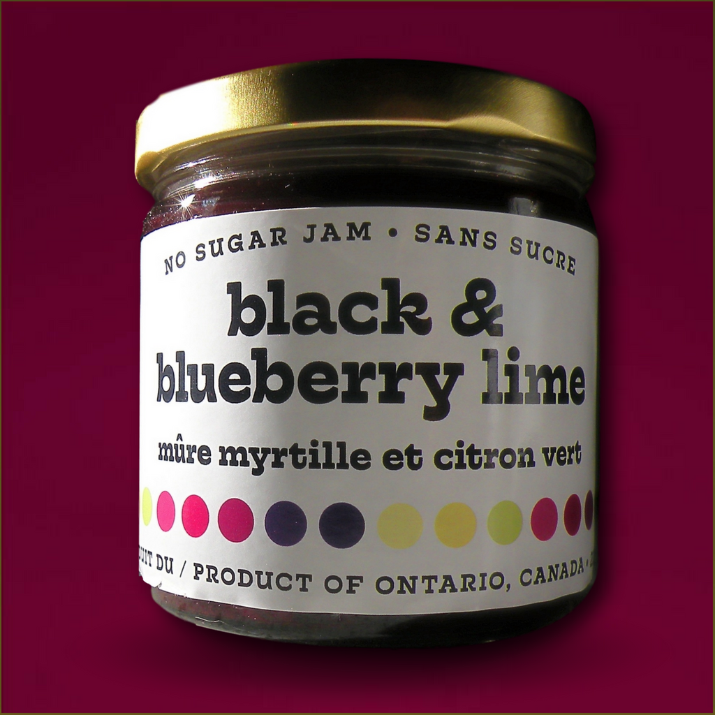 Black & Blueberry Lime - Dark and rich blackberries and blueberries together, with a twist of lime!229 mLBLUEBERRIES, BLACKBERRIES, NATURAL SWEETENER, LEMON JUICE CONCENTRATE, LIME JUICE CONCENTRATE, NATURAL PECTIN, CALCIUM WATER, TLC.