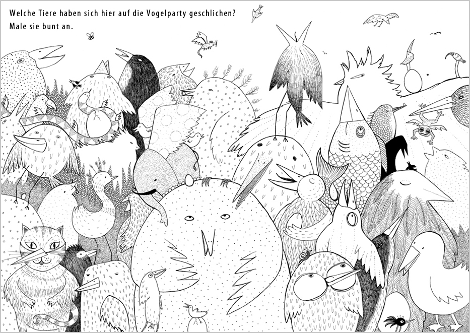 Which animals have snuck into the bird party? Colour them in.