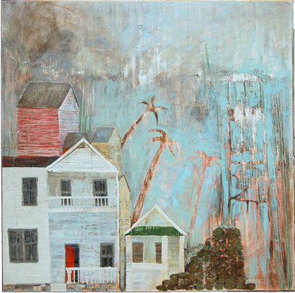 """After The Flood,  acrylic on panel 24""""x24"""", 2006 (sold)"""