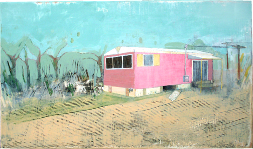 """Out In Leelanau County,  acrylic on found panel 13""""x18"""", 2006 (sold)"""