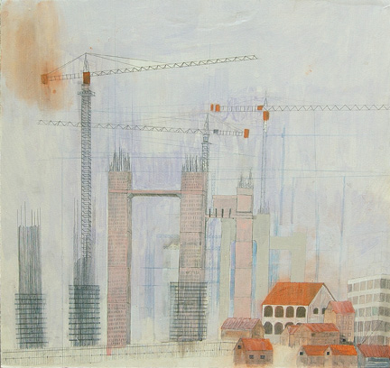 """(untitled), mixed media on paper mounted on panel 21""""x22"""", 2007 (sold)"""