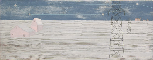 """Constellation , acrylic and graphite on found panel aprox. 11""""x20"""", 2007 (sold)"""