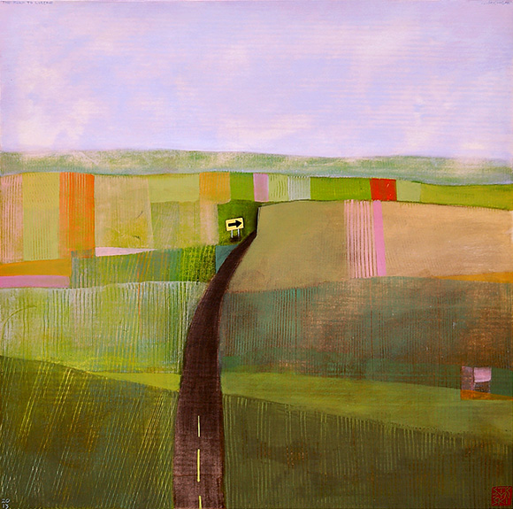 "The Road To Luzerne . . . Michigan , acrylic and graphite on panel 24""x24"", 2013  (sold)"