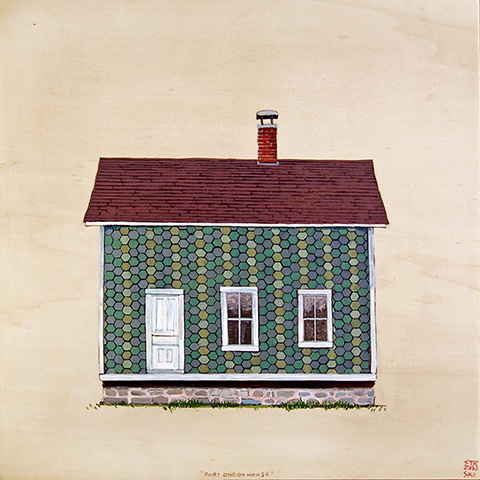 "Port Oneida House II , acrylic and pencil on panel 12""x12"", 2012 (sold)"