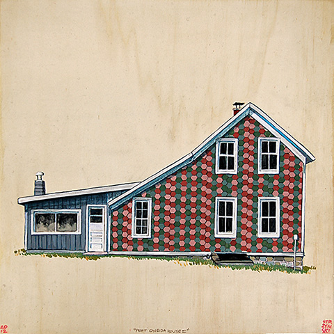 "Port Oneida House , acrylic and pencil on panel 12""x12"", 2012 (sold)"