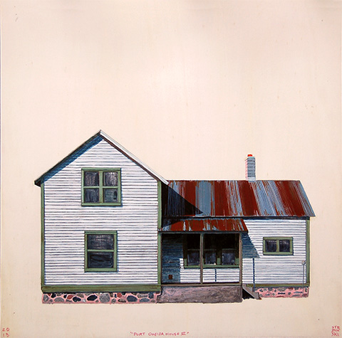 "Port Oneida House III , acrylic and pencil on panel 12""x12"", 2013 (sold)"