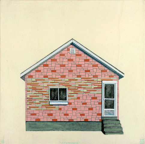 "Weird Neighbors , acrylic and pencil on panel 12""x12"", 2013 (sold)"
