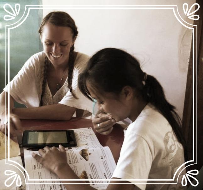 Photo: Melanie McCarthy and student, Tablas Island, Romblon Province, Philippines