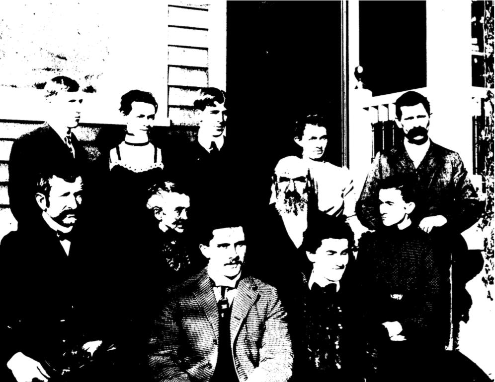 Pease Family – c. early 1900's Back row left to right – John Hoag, Edna Hoag, Calvin Pease, Lillian Geiger, William Geiger Center row left to right – John Turnbull, Mrs. Gideon Pease, Gideon Pease, Jenny Turnbull Front row left to right – Sion Wenban, Mable Wenban
