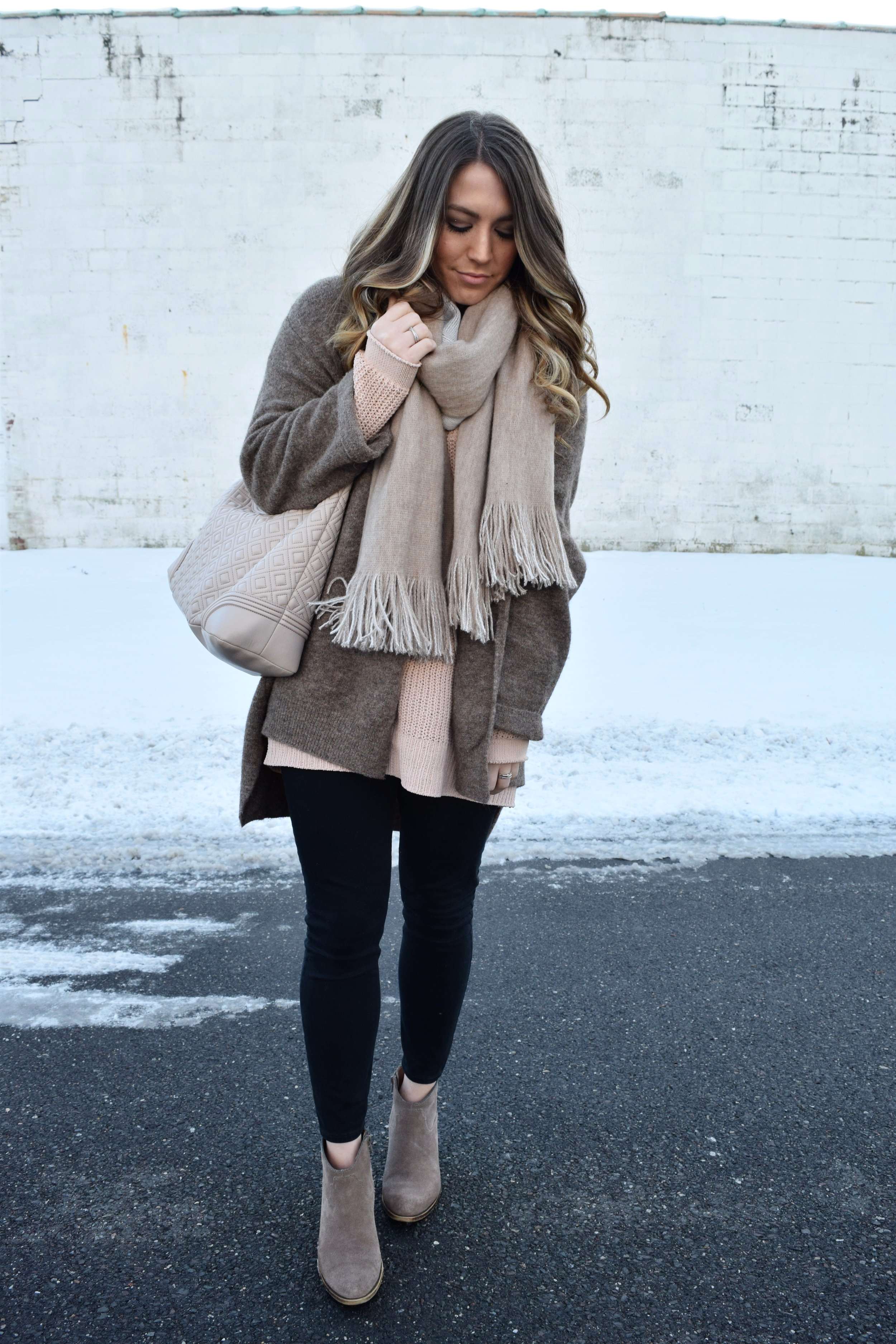 winter fashion, outfit idea, cozy sweater layered with cardigan and blanket scarf