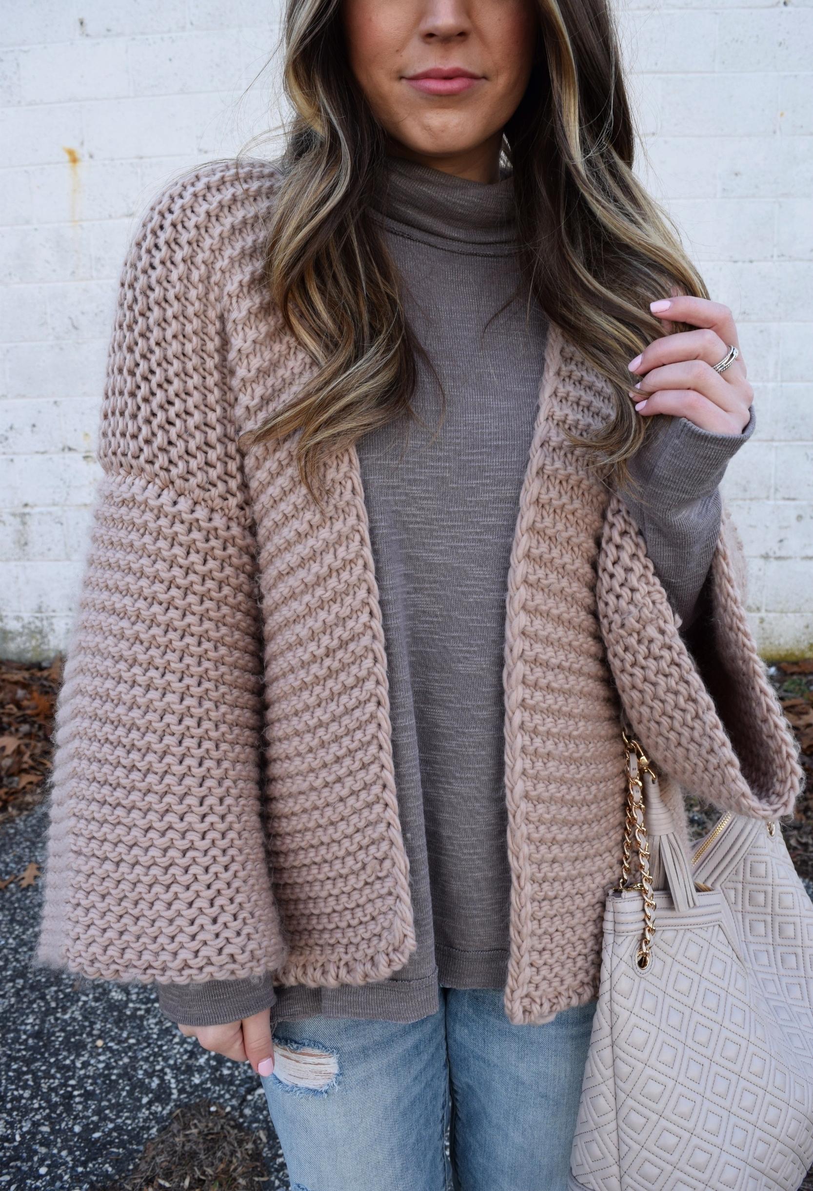 winter fashion, chunky cardigan, distressed denim