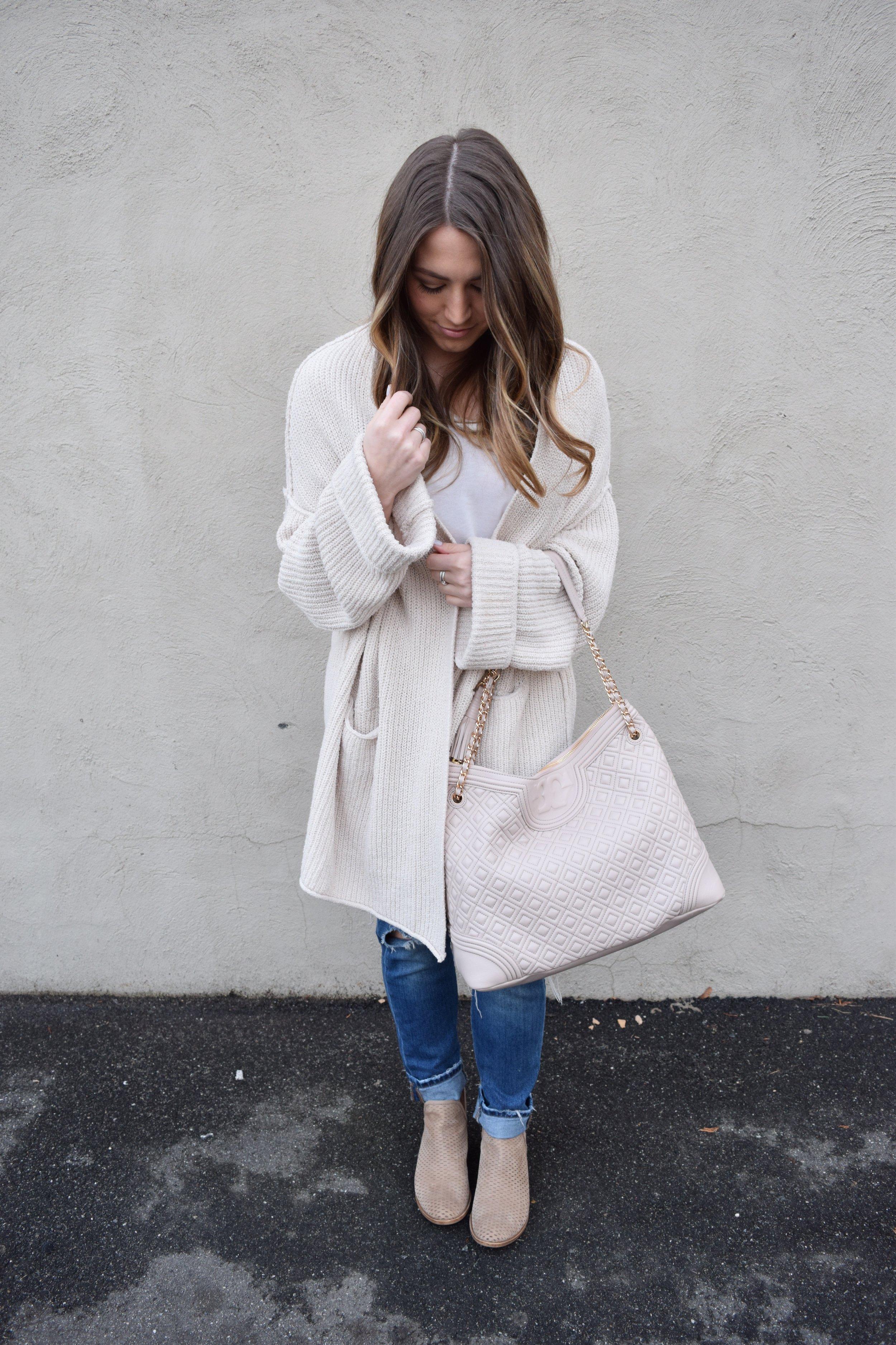 winter fashion, oversized cardigan