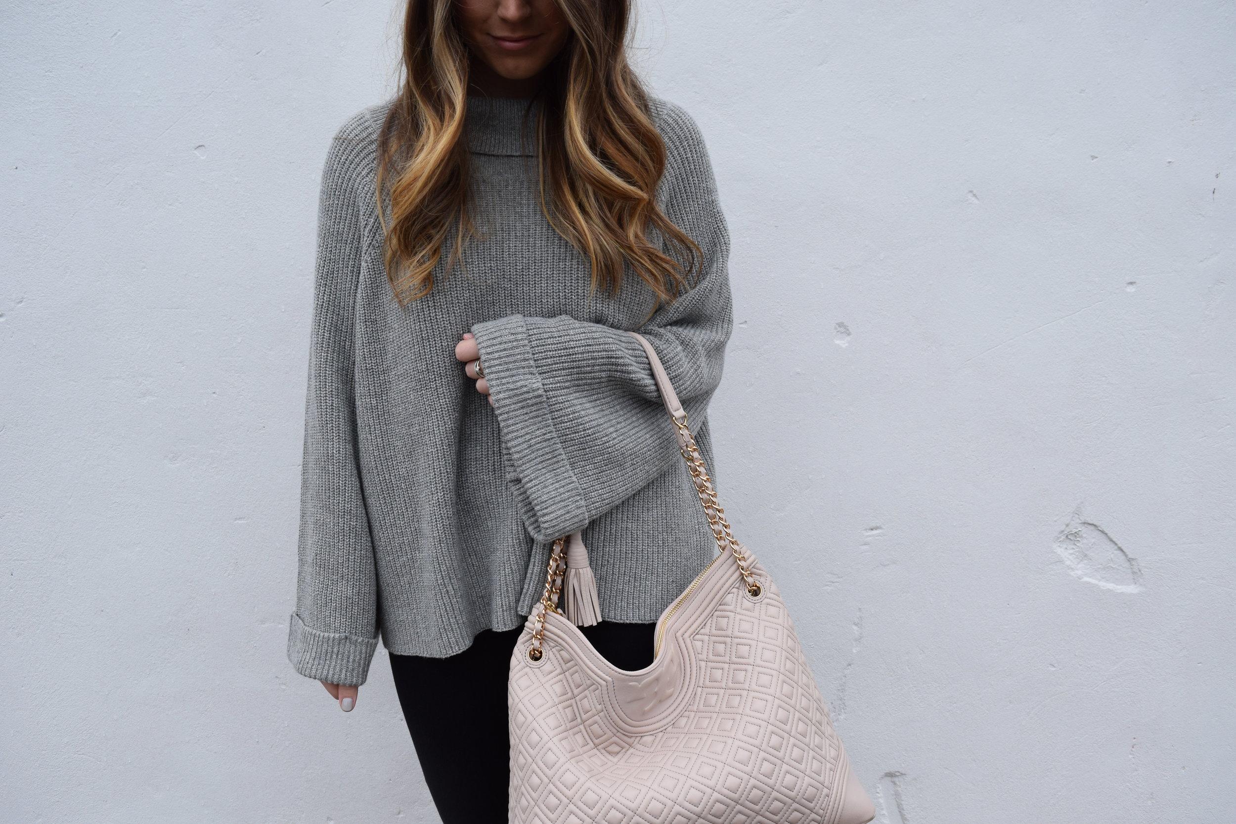 winter fashion, grey sweater