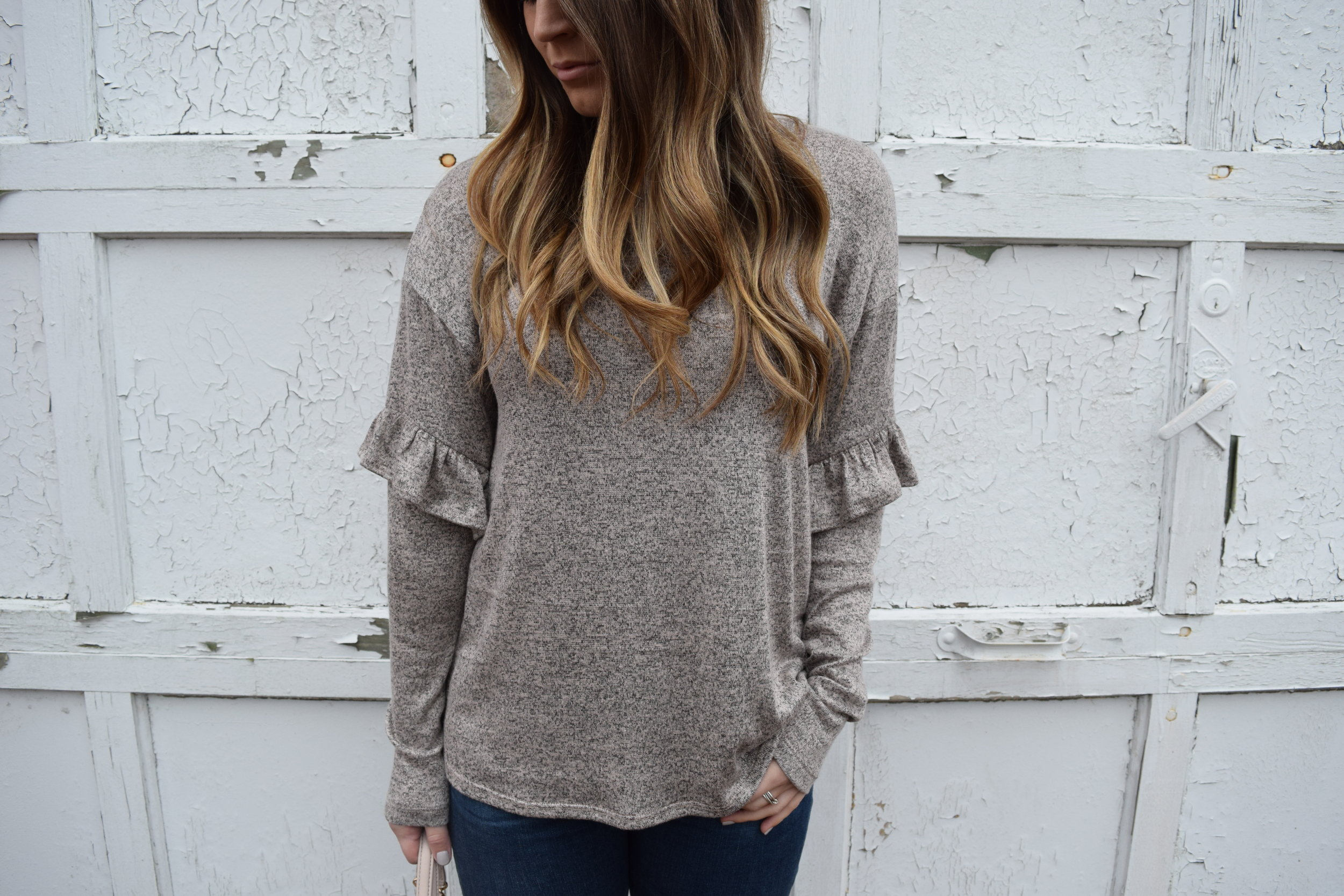 ruffle sleeve top for the spring transition
