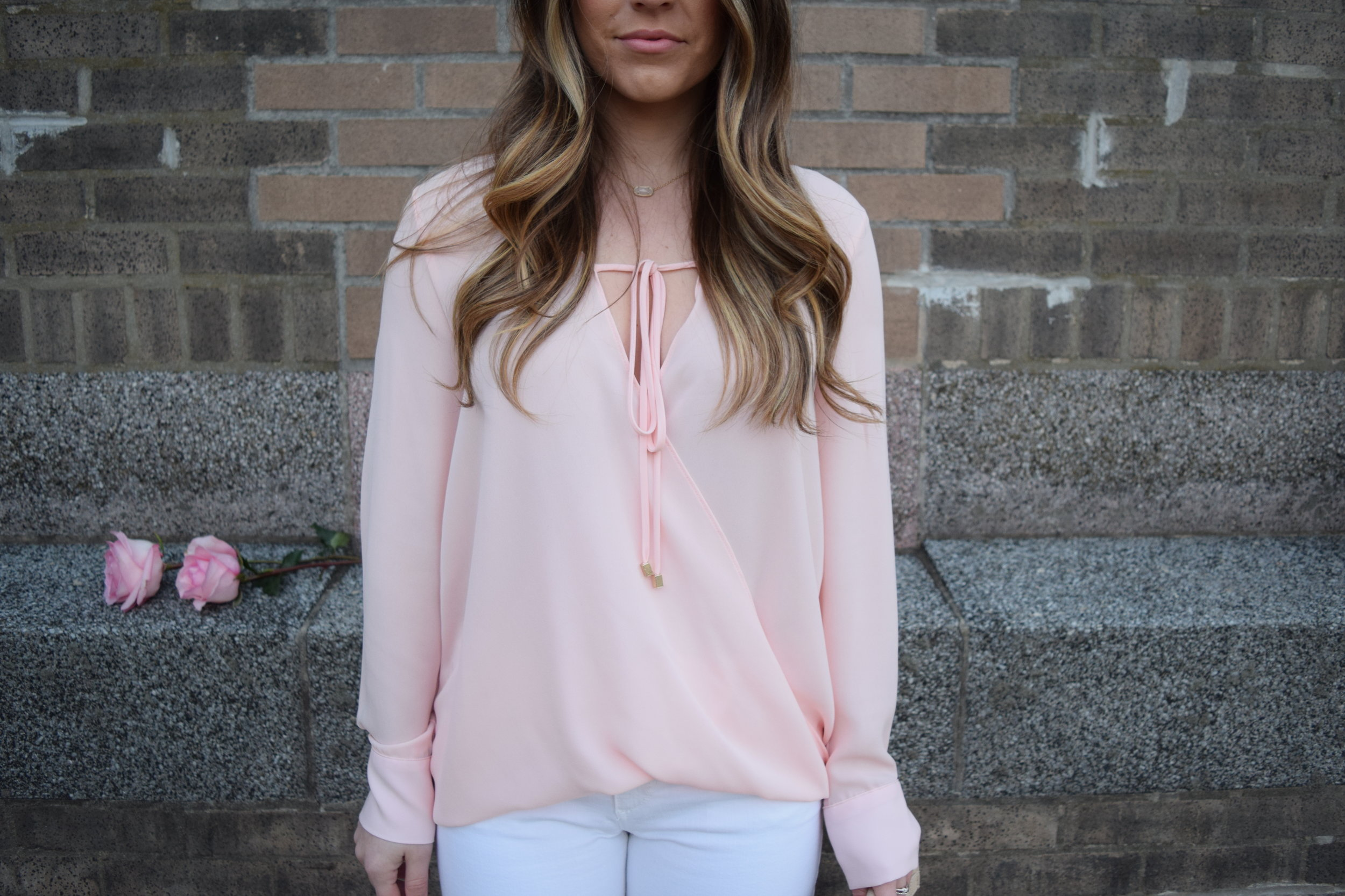 WAYF blush pink chiffon, cross front top, valentine's day outfit