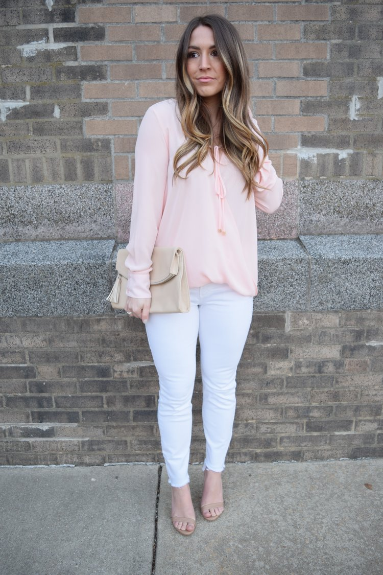 valentine's day outfit inspiration, blush top, white denim, outfit idea