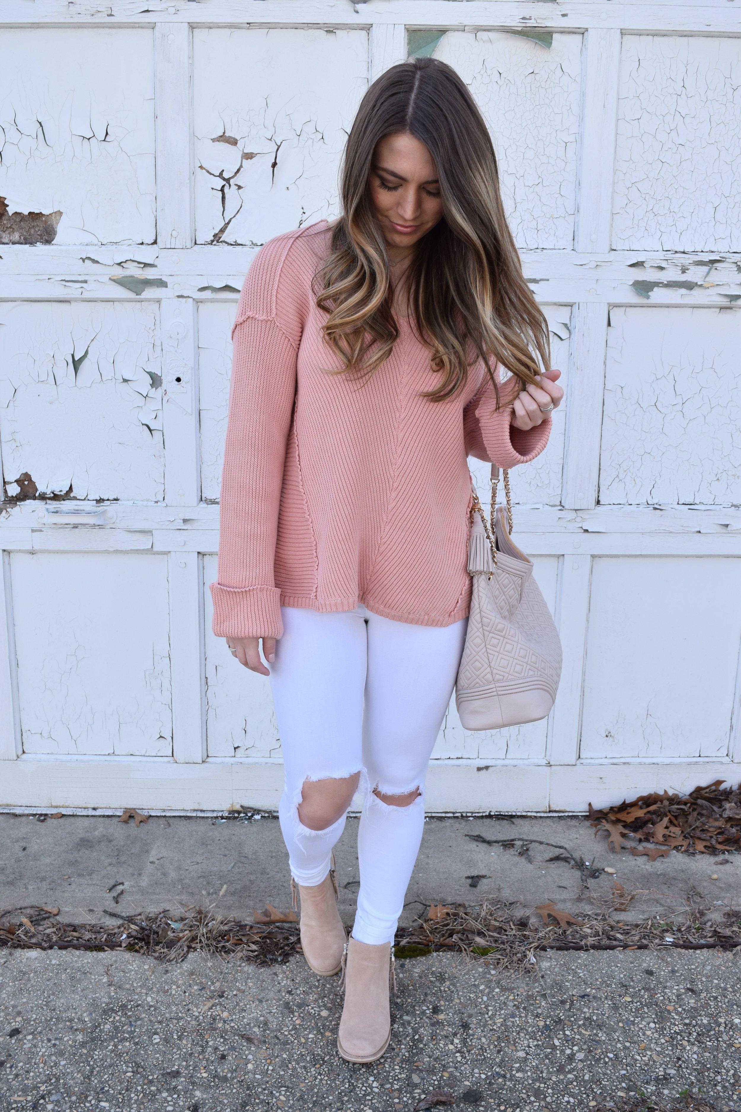 blush sweater + white distressed denim