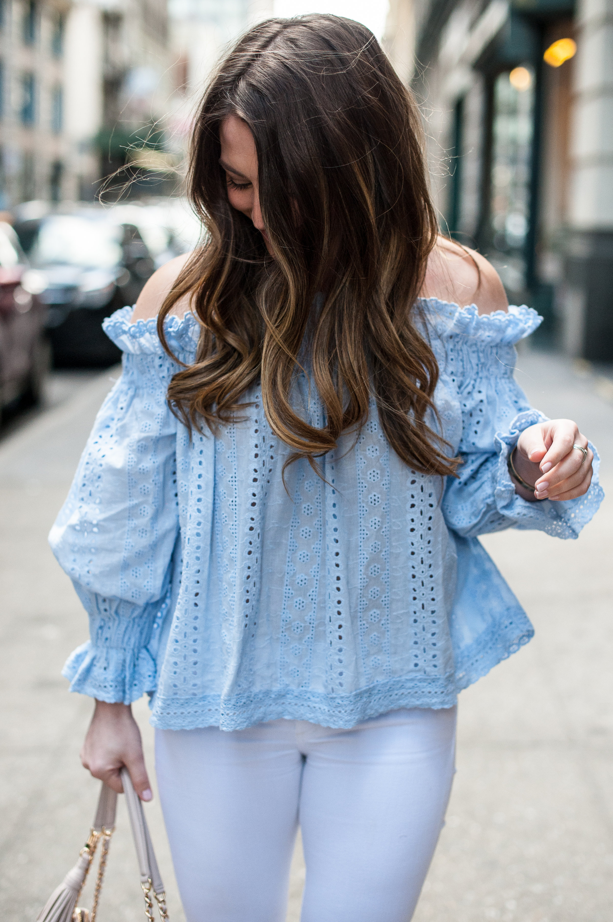 off the shoulder top, white denim, spring outfit idea