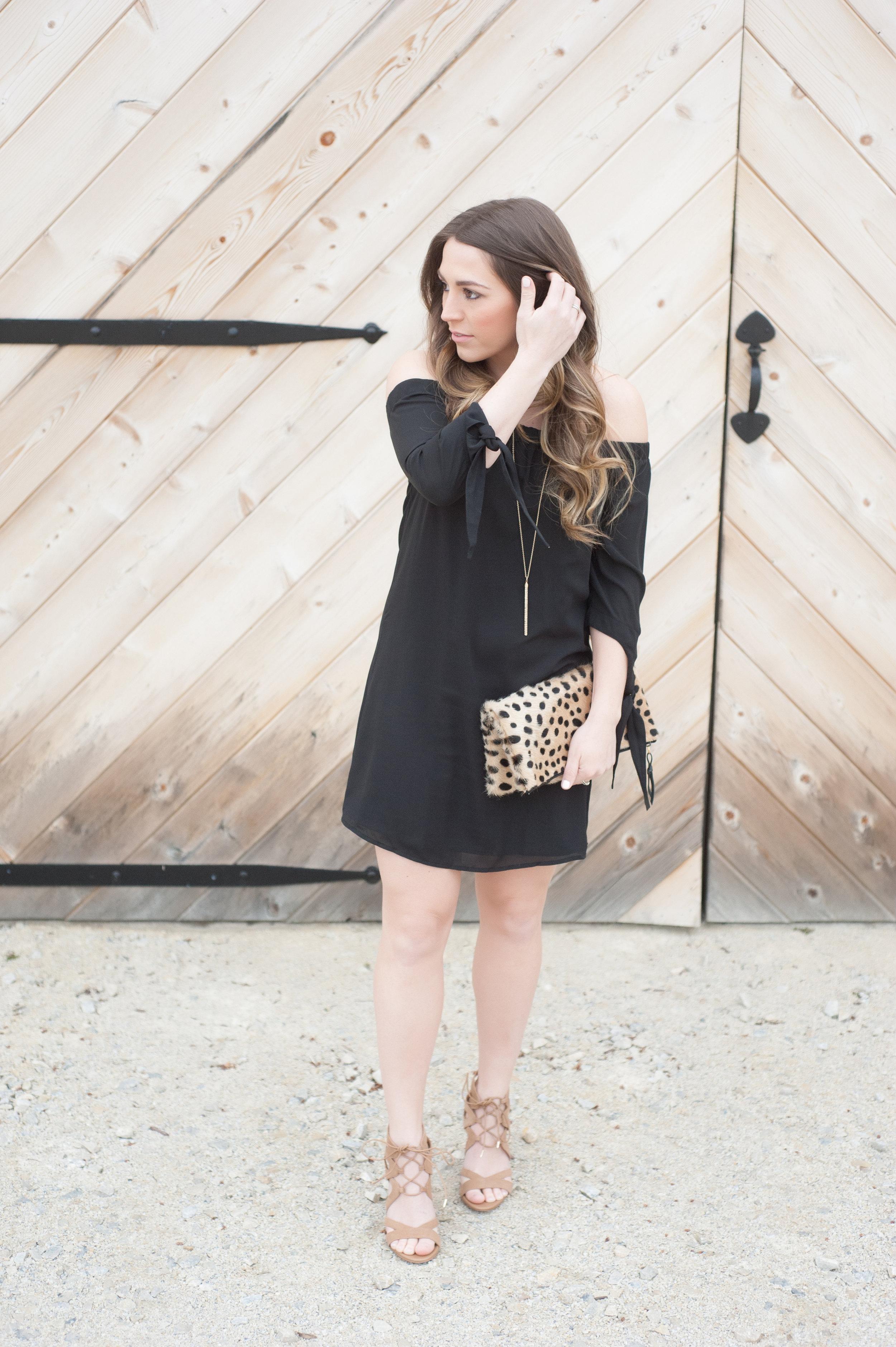 off the shoulder black dress / pinebarrenbeauty.com